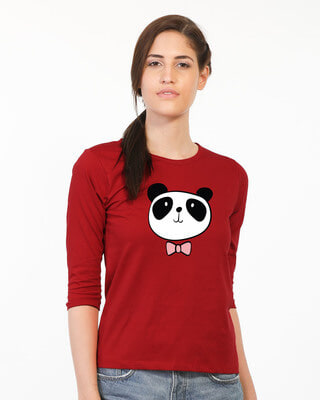 Shop Panda Bow Round Neck 3/4th Sleeve T-Shirt-Front