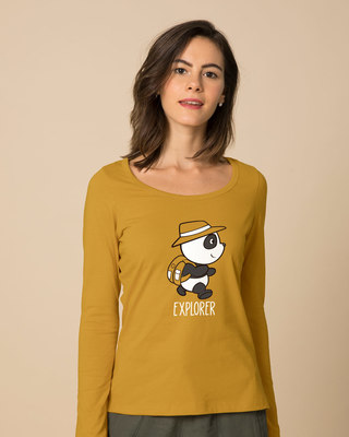 Shop Panda Explorer Scoop Neck Full Sleeve T-Shirt-Front