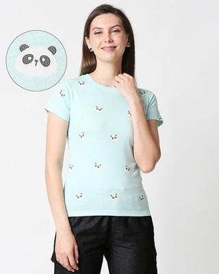 Shop Panda Fun Aop Plain Half Sleeves T-Shirt-Front