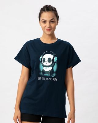 Shop Panda Headphones Boyfriend T-Shirt-Front