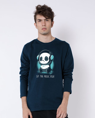 Shop Panda Headphones Full Sleeve T-Shirt-Front