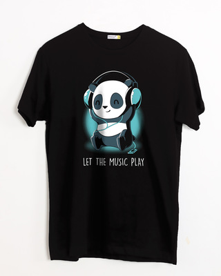 Shop Panda Headphones Half Sleeve T-Shirt-Front