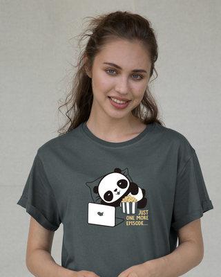 Shop Panda One More Episode Boyfriend T-Shirt-Front