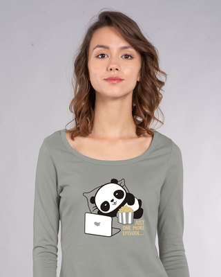 Shop Panda One More Episode Scoop Neck Full Sleeve T-Shirt-Front
