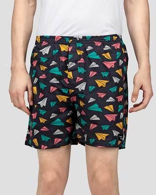 Shop What's Down | Paper Plane Boxer Shorts | Grey School Boxers-Front