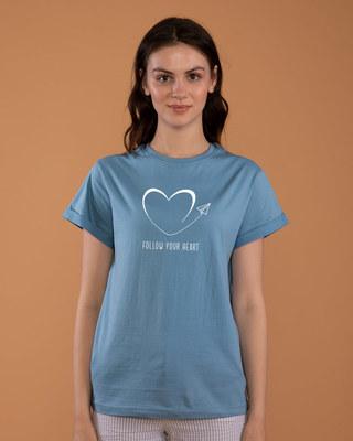 Shop Paper Plane Heart Boyfriend T-Shirt-Front