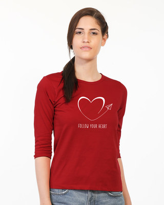 Shop Paper Plane Heart Round Neck 3/4th Sleeve T-Shirt-Front