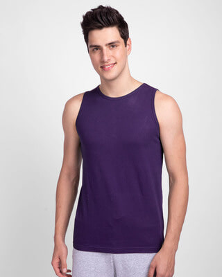 Shop Parachute Purple Round Neck Vest-Front