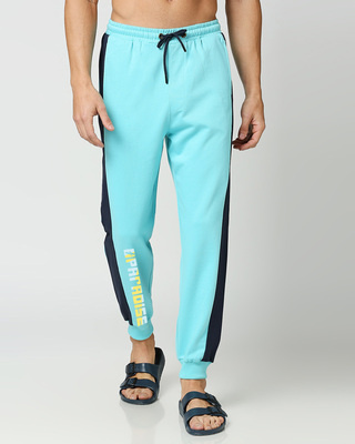 Shop Beach Blue Color Block Joggers-Front