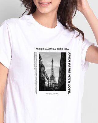 Shop Paris With Love Boyfriend T-Shirts White-Front