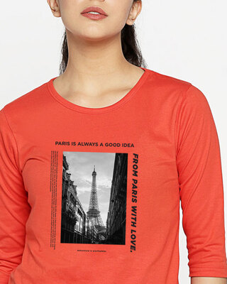 Shop Paris With Love Round Neck 3/4 Sleeve T-Shirts Oxyfire-Front