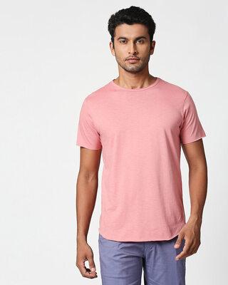 Shop Pastel Coral Raw Edge Slub Halfsleeve T-Shirt-Front