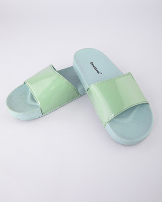 Shop Women Pastel Green Sliders-Front