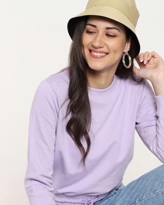 Shop Women's Solid Short Sweatshirt with Tie Up-Front
