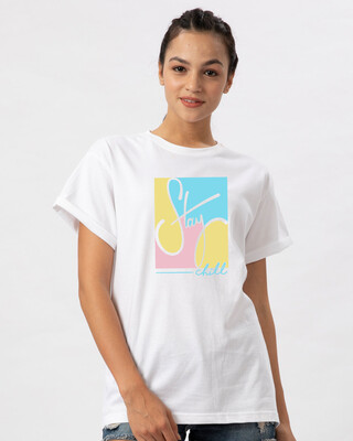 Shop Pastel Stay Chill Boyfriend T-Shirt-Front