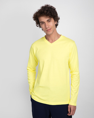 Shop Pastel Yellow V-Neck Full Sleeve T-Shirt-Front