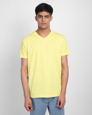 Shop Pastel Yellow V-Neck T-Shirt-Front