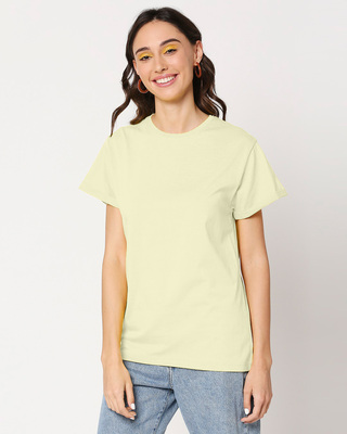 Shop Pastel Yellow Women's Boyfriend T-Shirt-Front