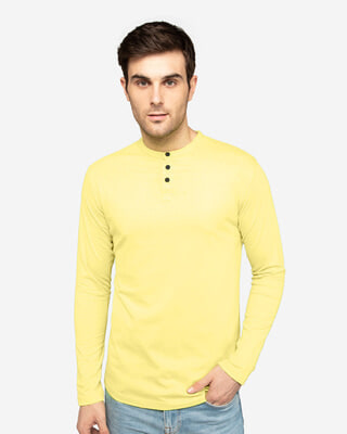 Shop Pastle Yellow Full Sleeve Henley T-Shirt-Front