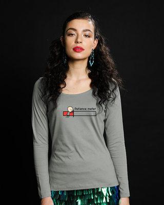 Shop Patience Meter Scoop Neck Full Sleeve T-Shirt-Front