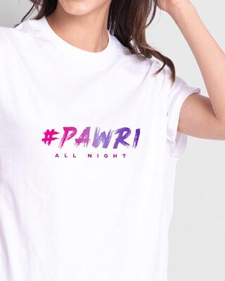 Shop Pawri All Night Boyfriend T-Shirts White-Front