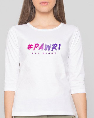 Shop Pawri All Night Round Neck 3/4 Sleeve T-Shirts White-Front