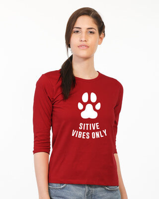 Shop Pawsitive Only Round Neck 3/4th Sleeve T-Shirt-Front