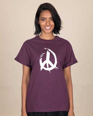 Shop Peace Brush Stroke Boyfriend T-Shirt-Front