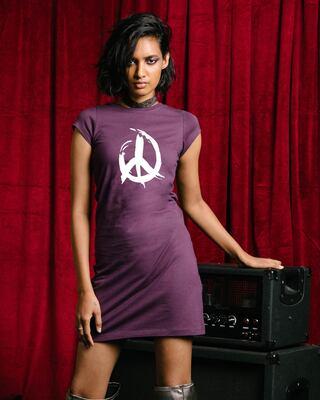 Shop Peace Brush Stroke Cap Sleeve T-Shirt Dress-Front