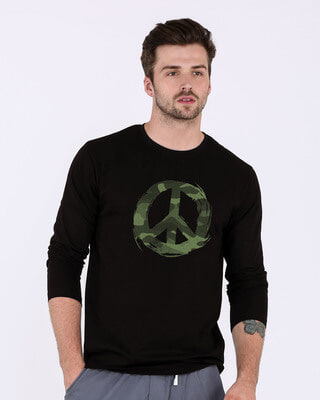 Shop Peace Camouflage Full Sleeve T-Shirt-Front