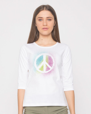 Shop Peace Colors Round Neck 3/4th Sleeve T-Shirt-Front