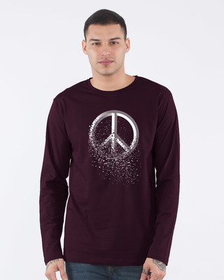 Shop Peace Dispersion Full Sleeve T-Shirt-Front