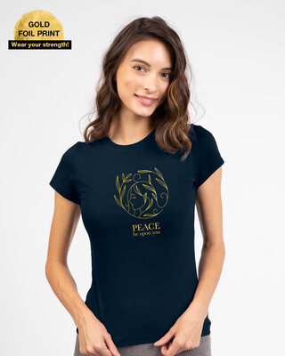 Shop Peace Gold Half Sleeve T-Shirt Navy Blue-Front