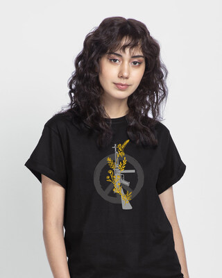Shop Peace Gun Flower Boyfriend T-Shirt-Front