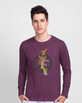 Shop Peace Gun Flower Full Sleeve T-Shirt-Front