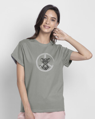 Shop Peace Jerry Boyfriend T-Shirts (TJL) Meteor Grey-Front