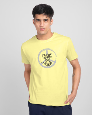 Shop Peace Jerry Half Sleeve T-Shirt (TJL) Pastel Yellow-Front