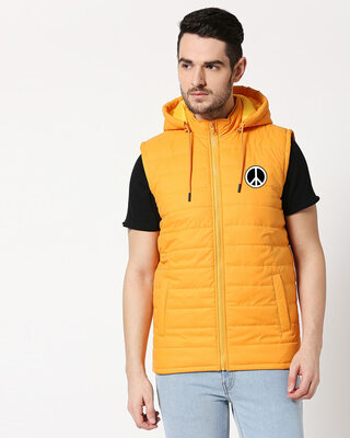 Shop Peace logo Sleeveless Puffer Jacket with Detachable Hood-Front