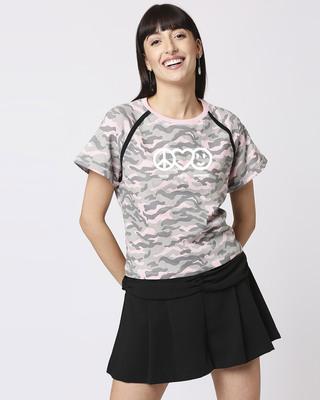 Shop Peace Love Harmony Raglan Boyfriend Camo T-Shirt Pink Camo -Front