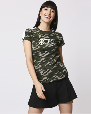 Shop Peace Love Harmony Shoulder Sleeves Panel Half Sleeves Camo T-Shirt Olive Camo -Front
