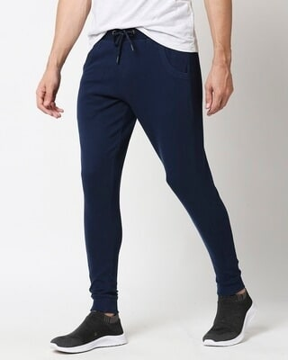 Shop Peageant Blue Men's Plain Casual Jogger With Elastic at Ankle-Front