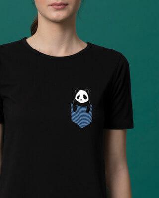 Shop Peek-a-boo Panda Basic Round Hem T-Shirt-Front