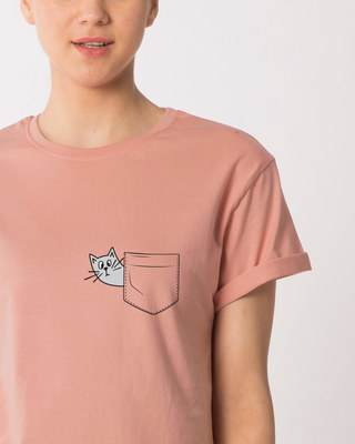 Shop Peek-a-cat Boyfriend T-Shirt-Front