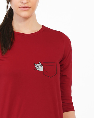 Shop Peek-a-cat Round Neck 3/4th Sleeve T-Shirt-Front