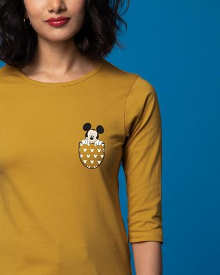 Shop Peek Out Mickey Round Neck 3/4th Sleeve T-Shirt (DL)-Front