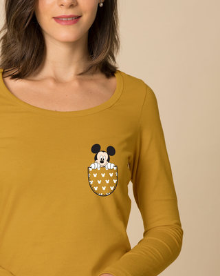 Shop Peek Out Mickey Scoop Neck Full Sleeve T-Shirt (DL)-Front