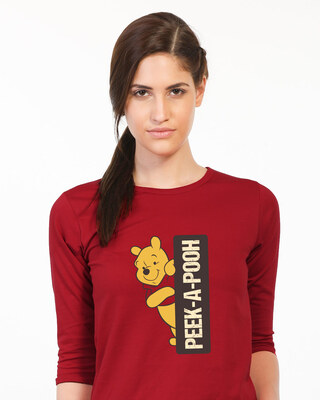 Shop Peeking Pooh Round Neck 3/4th Sleeve T-Shirt (DL)-Front