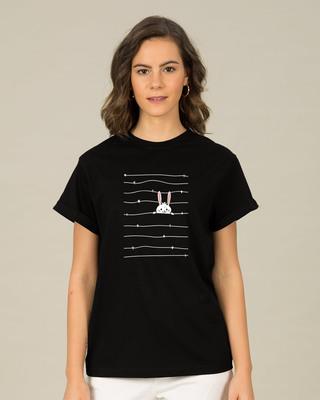 Shop Peeking Rabit Boyfriend T-Shirt-Front