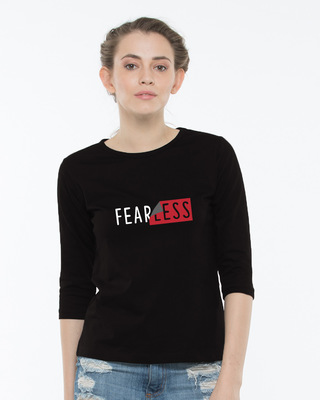 Shop Peel Off Fearless Round Neck 3/4th Sleeve T-Shirt-Front