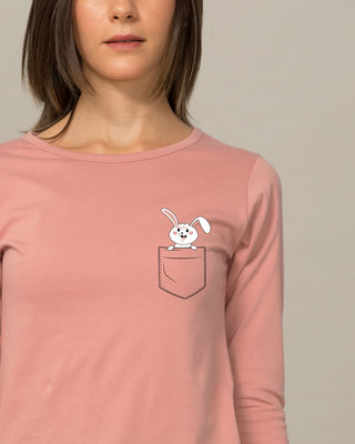 Shop Peeping Bunny Round Neck 3/4th Sleeve T-Shirt-Front